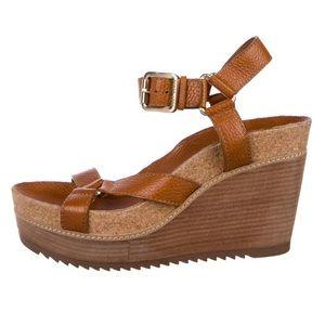 Tory Burch neutral brown wedge sandals